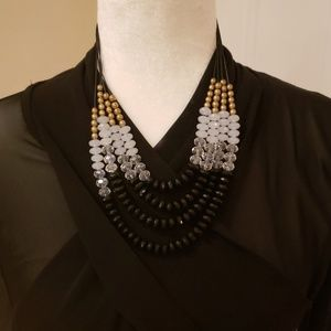 Black, Clear and gold necklace